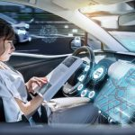 Composite image of illustration of virtual data against a young beautiful girl reading book in car.